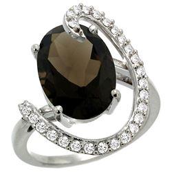 Natural 5.89 ctw Smoky-topaz & Diamond Engagement Ring 14K White Gold - REF-91H4W