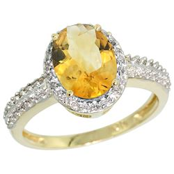Natural 1.91 ctw Citrine & Diamond Engagement Ring 14K Yellow Gold - REF-41N3G
