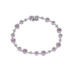 5.14 CTW Pink Sapphire & Diamond Bracelet 14K White Gold - REF-168W8H