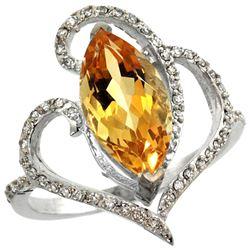 Natural 3.33 ctw Citrine & Diamond Engagement Ring 14K White Gold - REF-77N5G