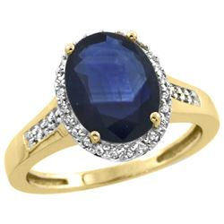 Natural 2.49 ctw Blue-sapphire & Diamond Engagement Ring 10K Yellow Gold - REF-92X3A