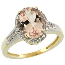 Natural 2.49 ctw Morganite & Diamond Engagement Ring 10K Yellow Gold - REF-55Y8X