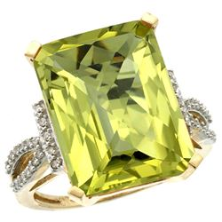 Natural 12.14 ctw Lemon-quartz & Diamond Engagement Ring 10K Yellow Gold - REF-49N2G