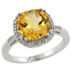 Natural 4.11 ctw Citrine & Diamond Engagement Ring 14K White Gold - REF-44K2R