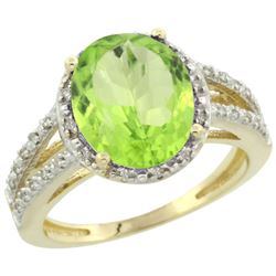 Natural 3.86 ctw Peridot & Diamond Engagement Ring 14K Yellow Gold - REF-52R2Z