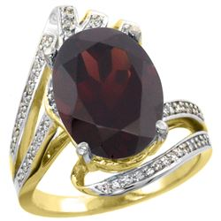 Natural 6.78 ctw garnet & Diamond Engagement Ring 14K Yellow Gold - REF-101H5W