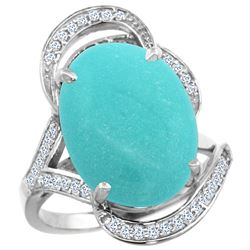 Natural 11.23 ctw turquoise & Diamond Engagement Ring 14K White Gold - REF-133X3A