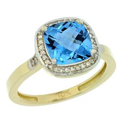 Natural 3.94 ctw Swiss-blue-topaz & Diamond Engagement Ring 10K Yellow Gold - REF-29H2W