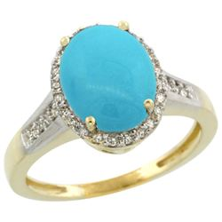 Natural 2.49 ctw Turquoise & Diamond Engagement Ring 14K Yellow Gold - REF-48F6N