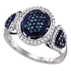0.50 CTW Blue Color Diamond Oval Cluster Ring 10KT White Gold - REF-43K4W