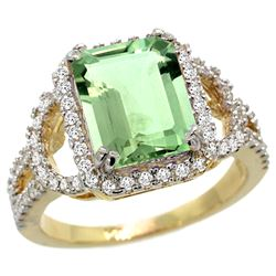 Natural 3.08 ctw green-amethyst & Diamond Engagement Ring 14K Yellow Gold - REF-106R3Z