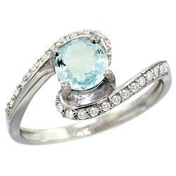 Natural 0.99 ctw aquamarine & Diamond Engagement Ring 14K White Gold - REF-54K9R
