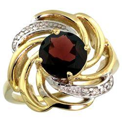 Natural 2.25 ctw garnet & Diamond Engagement Ring 14K Yellow Gold - REF-58Y9X
