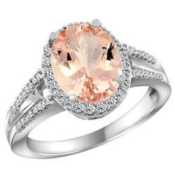 Natural 4.12 ctw morganite & Diamond Engagement Ring 14K White Gold - REF-86V5F