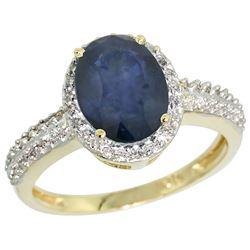 Natural 2.31 ctw Blue-sapphire & Diamond Engagement Ring 14K Yellow Gold - REF-54K9R