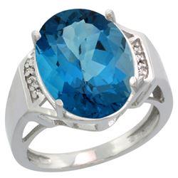 Natural 11.02 ctw London-blue-topaz & Diamond Engagement Ring 10K White Gold - REF-53V5F