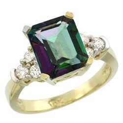 Natural 2.86 ctw mystic-topaz & Diamond Engagement Ring 14K Yellow Gold - REF-65W2K