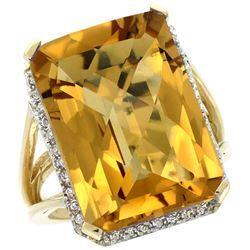Natural 15.06 ctw Whisky-quartz & Diamond Engagement Ring 14K Yellow Gold - REF-75M3H