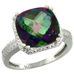 Natural 5.96 ctw Mystic-topaz & Diamond Engagement Ring 14K White Gold - REF-42F3N