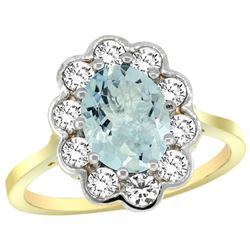 Natural 2 ctw Aquamarine & Diamond Engagement Ring 14K Yellow Gold - REF-88Z3Y