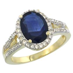 Natural 2.72 ctw blue-sapphire & Diamond Engagement Ring 10K Yellow Gold - REF-105Z2Y