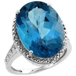 Natural 13.6 ctw London-blue-topaz & Diamond Engagement Ring 14K White Gold - REF-81Z2Y