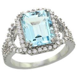 Natural 3.51 ctw blue-topaz & Diamond Engagement Ring 14K White Gold - REF-100A9V