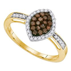 0.33 CTW Cognac-brown Color Diamond Oval Cluster Ring 10KT Yellow Gold - REF-18N2F
