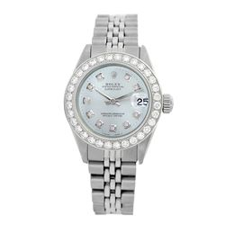 Rolex Pre-owned 26mm Womens Custom Light Blue Stainless Steel - REF-470N3H