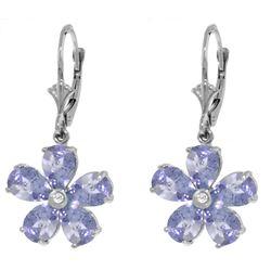 Genuine 4.43 ctw Tanzanite & Diamond Earrings Jewelry 14KT White Gold - REF-79W3Y