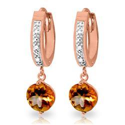 Genuine 2.53 ctw Citrine & Diamond Earrings Jewelry 14KT Rose Gold - REF-54V6W