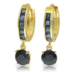 Genuine 3.3 ctw Sapphire Earrings Jewelry 14KT Yellow Gold - REF-59M2T