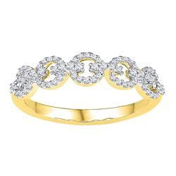 0.25 CTW Diamond Linked Ring 10KT Yellow Gold - REF-19F4N