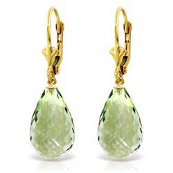 Genuine 14 ctw Green Amethyst Earrings Jewelry 14KT Yellow Gold - REF-28K3V