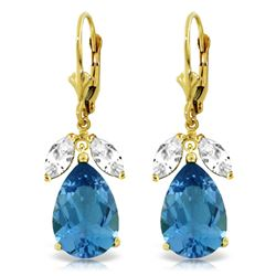 Genuine 13 ctw Blue Topaz & White Topaz Earrings Jewelry 14KT Yellow Gold - REF-61P2H