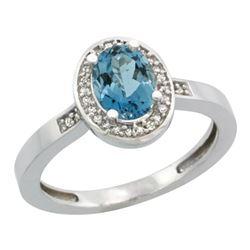 Natural 1.08 ctw London-blue-topaz & Diamond Engagement Ring 14K White Gold - REF-31A6V