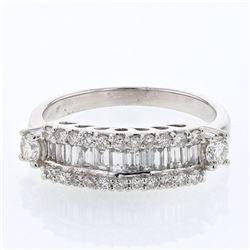 0.97 CTW Diamond Ring 14K White Gold - REF-90W2H