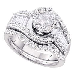 1.25 CTW Princess Diamond Bridal Engagement Ring 14KT White Gold - REF-142Y4X