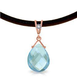 Genuine 6.51 ctw Blue Topaz & Diamond Necklace Jewelry 14KT Rose Gold - REF-26P9H