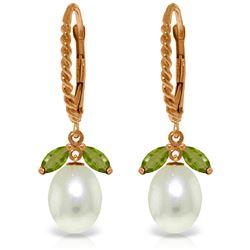 Genuine 9 ctw Peridot & Pearl Earrings Jewelry 14KT Rose Gold - REF-39M3T