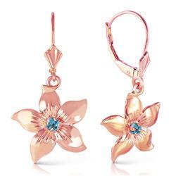 Genuine 0.20 CTW Blue Topaz Earrings Jewelry 14KT Rose Gold - REF-65Y6F