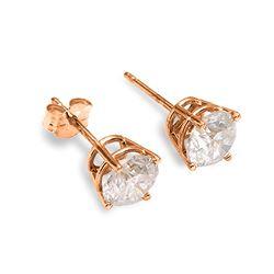 Genuine 0.50 ctw Diamond Anniversary Earrings Jewelry 14KT Rose Gold - REF-100V2W