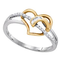 0.09 CTW Diamond Yellow Heart Ring 10KT Two-tone Gold - REF-14H9M