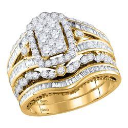 2.04 CTW Diamond Bridal Wedding Engagement Ring 14KT Yellow Gold - REF-169W3K