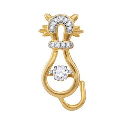 0.20 CTW Diamond Kitty Cat Twinkle Moving Pendant 10KT Yellow Gold - REF-25W4K