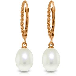 Genuine 8 ctw Pearl Earrings Jewelry 14KT Rose Gold - REF-22T5A