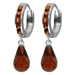 Genuine 5.35 ctw Garnet Earrings Jewelry 14KT White Gold - REF-43Z6N