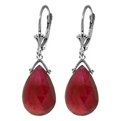 Genuine 16 ctw Ruby Earrings Jewelry 14KT White Gold - REF-85T2A