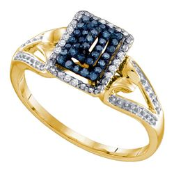 0.15 CTW Blue Color Diamond Cluster Ring 10KT Yellow Gold - REF-18H2M