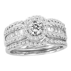 1.05 CTW Diamond Bridal Wedding Engagement Ring 14KT White Gold - REF-157X5Y